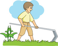 farmer with pitchfork at farm. Size: 51 Kb