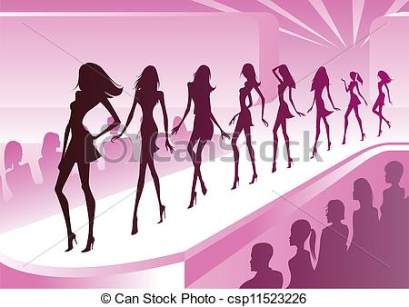 ... Fashion models show new clothes at a review - vector.