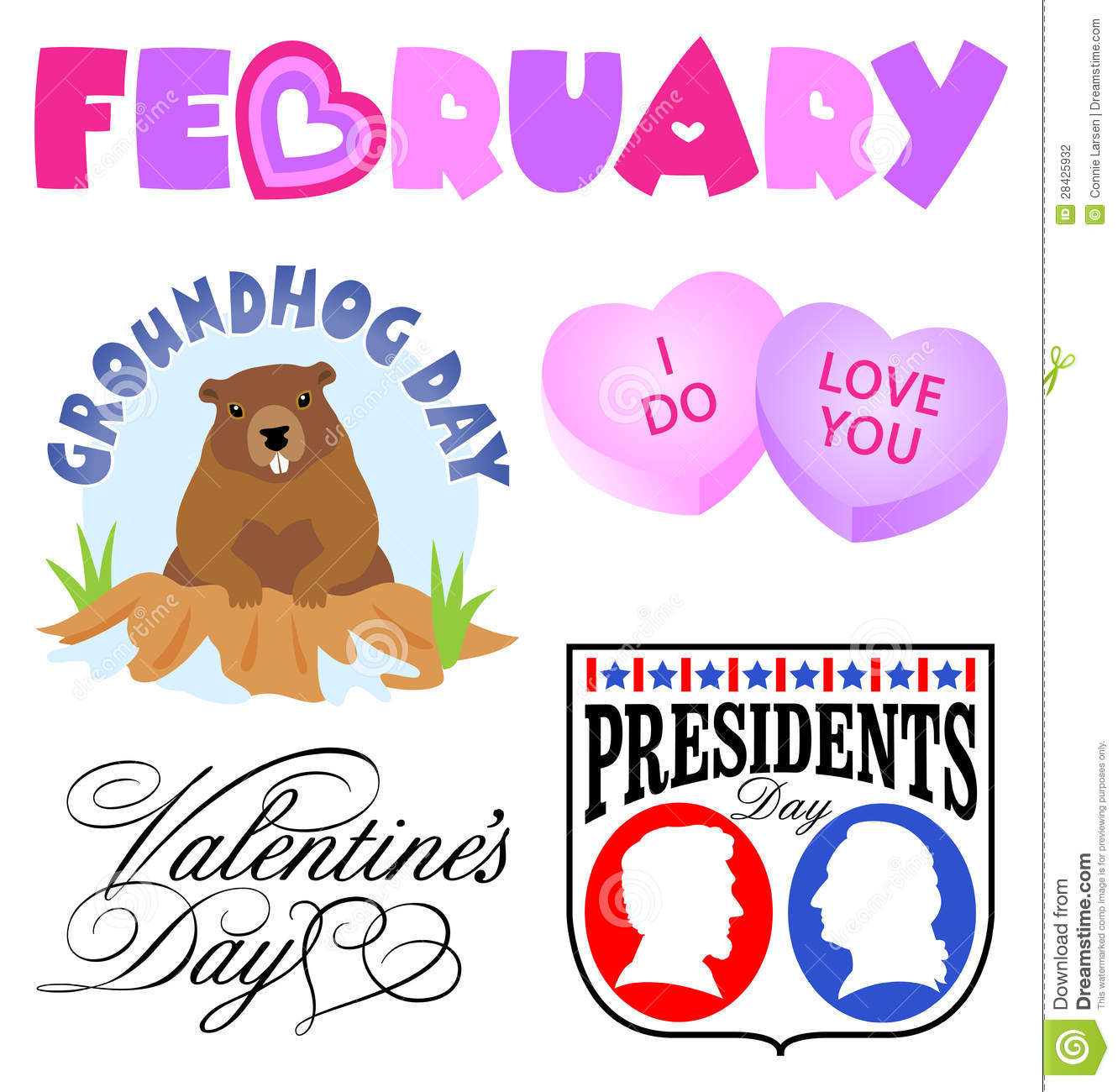 February Events Clip Art Set/ .