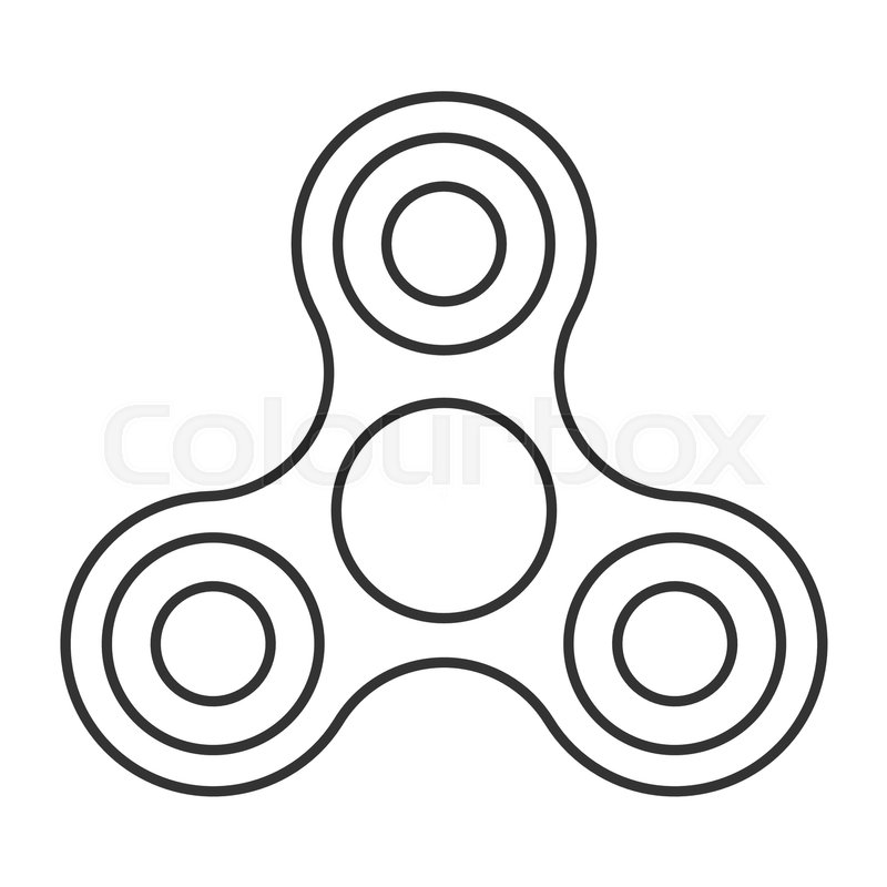 Fidget spinner icon - toy for stress relief and improvement of attention  span. Drawn with outline thin lines. Isolatied vector illustration.