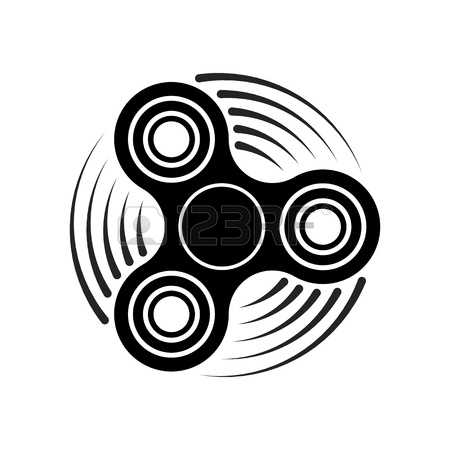 Hand Fidget Spinner Toy Icon - Stress And Anxiety Relief. Spinning Motion.