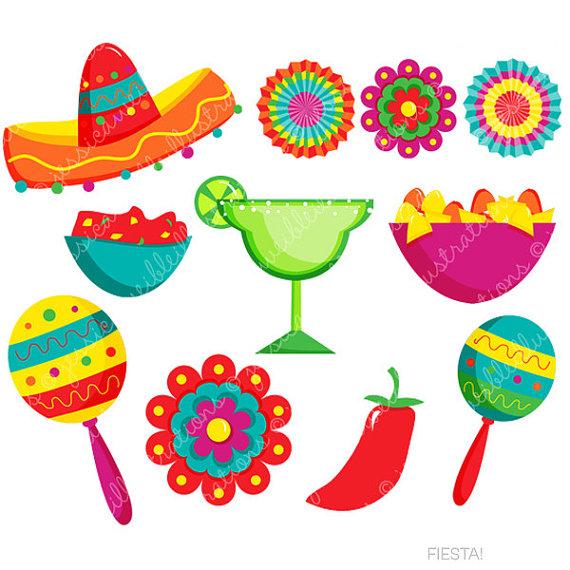 Fiesta Cute Digital Clipart, Spanish Mexican Clipart, Mexican Graphics, Cinco de Mayo Graphics
