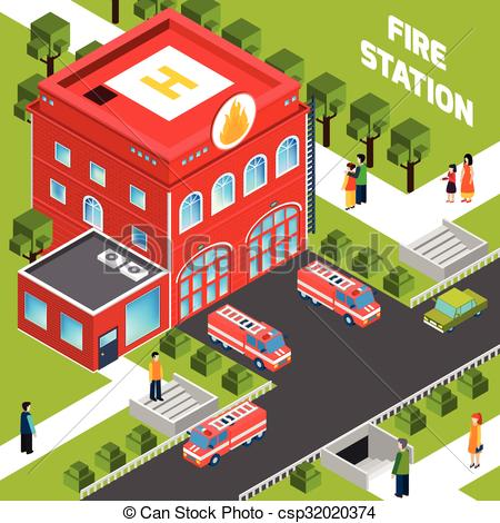 ... Fire Department Building Isometric Concept - Design concept.