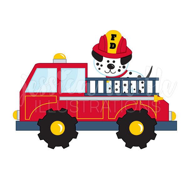 Fire Truck with Dalmatian Cute Digital Clipart, Fire Truck Clip art, Firetruck Graphics, Fire Truck with Dalmatian Illustration, #125