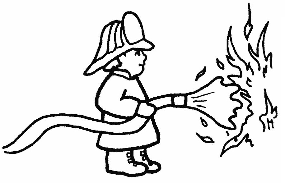 Firefighter Black And White. Fireman Coloring Pages Free Printable