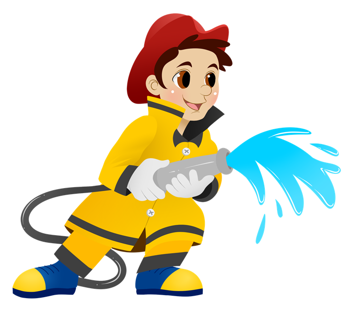 Cartoon Firefighter Clipart #1