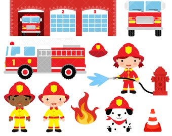 Firefighter Clipart / Fire Fighter / Fireman / Fire Engine / Fire Truck