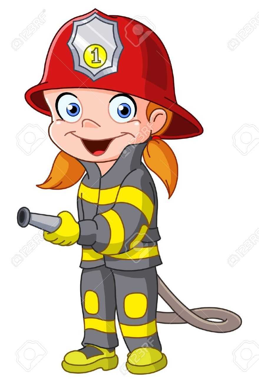 Firefighter Clipart, Firefighter Symbol, Fireman Costume, Mädchen Clipart,  Vector Graphics, Vector