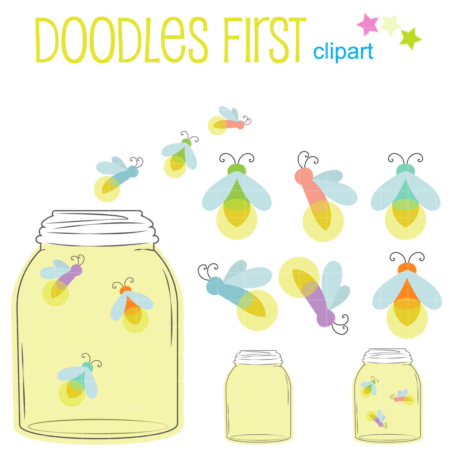 Fireflies In A Jar Digital Clip Art for Scrapbooking Card Making Cupcake Toppers Paper Crafts