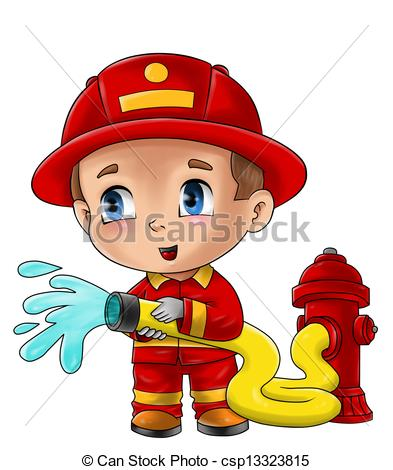 ... Fireman - Cute cartoon illustration of a fireman