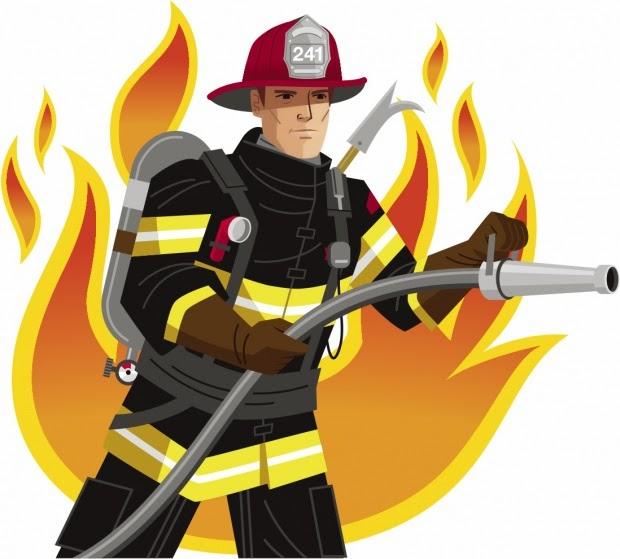 Fireman firefighter vector clip art image