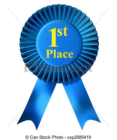 First Clipart. First place ribbon - Blue .