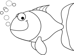 fish outline clipart black and white