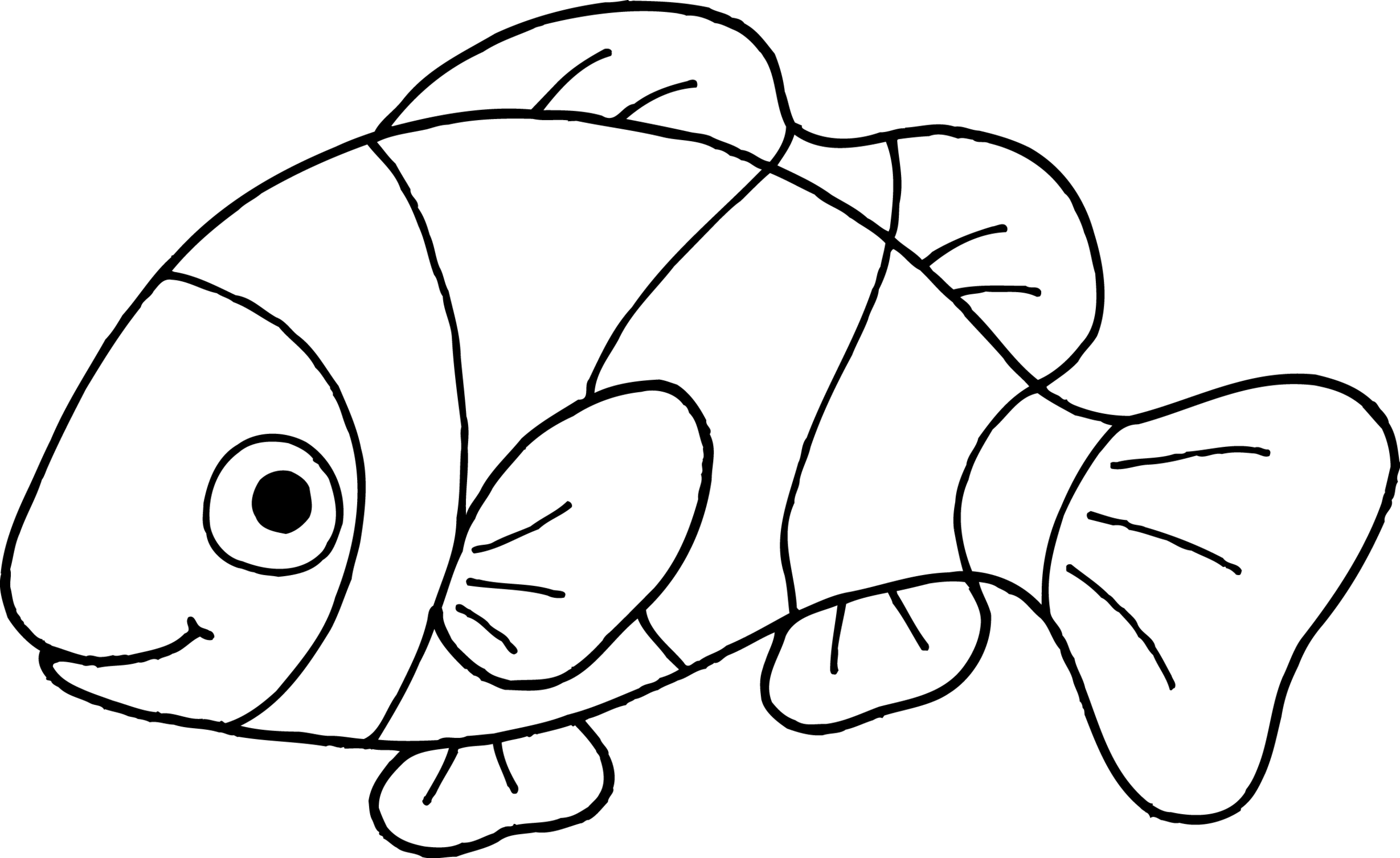 fish black and white clipart 3