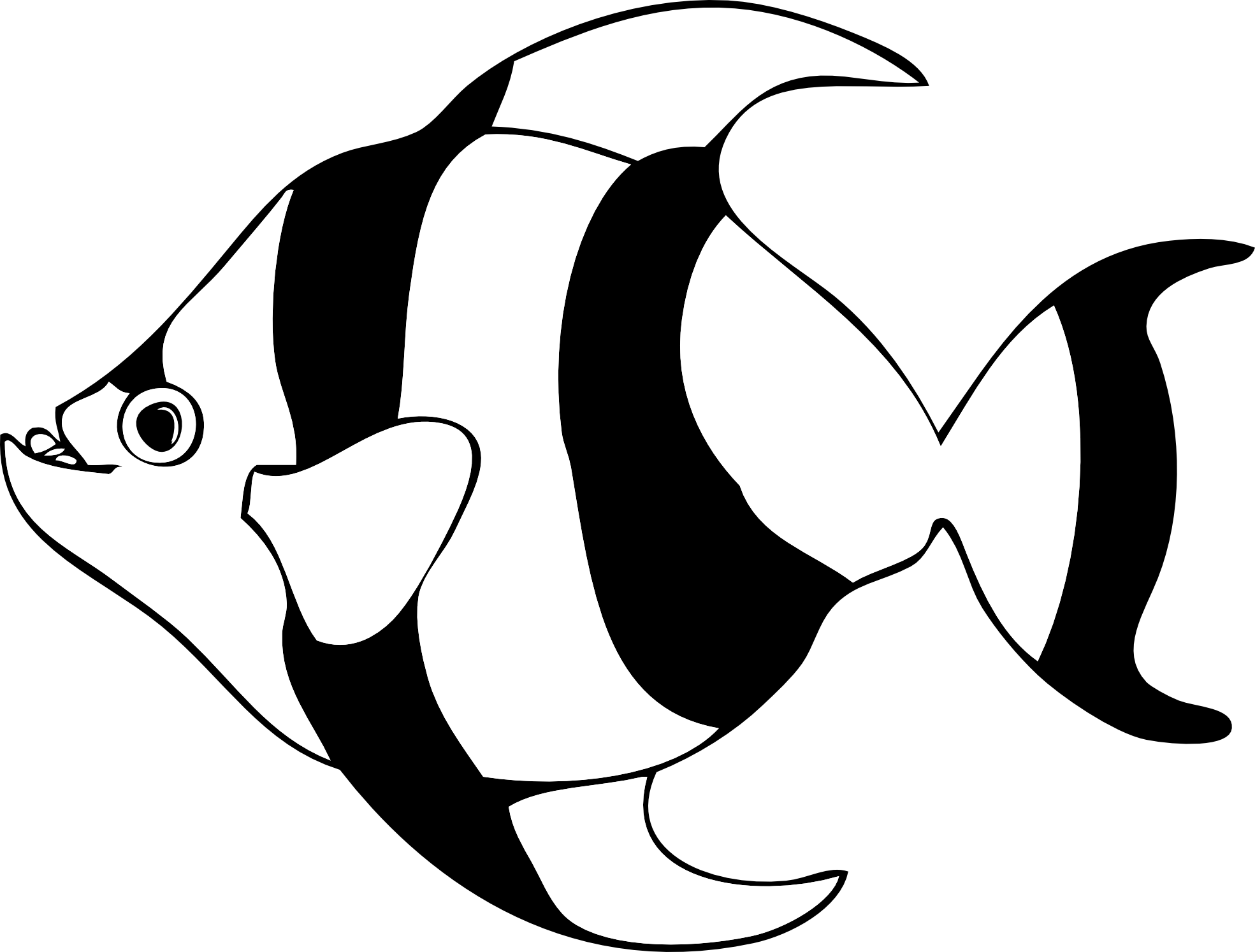 Tropical Fish Black And White Clipart | Clipart library - Free