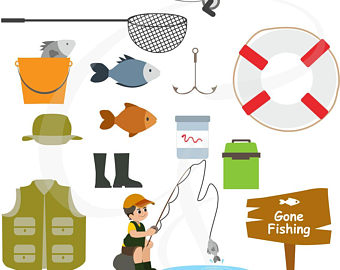 Fishing Clipart, Fatheru0027s day, camping, fishing items, digital clipart,  commercial use