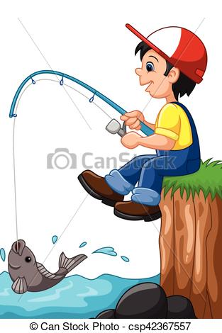Little boy fishing - csp42367557