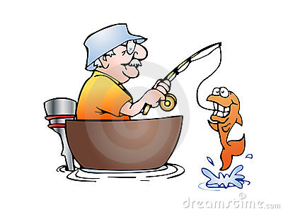 Old Man Fishing Clipart #1
