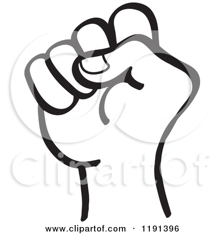 Fist Clipart 1191396 Clipart Of A Black And White Hand In A Fist