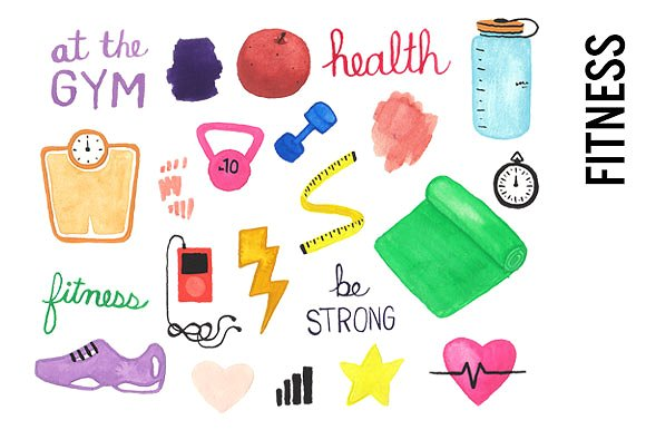 Health Fitness Watercolor Clipart - Illustrations