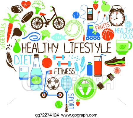 Vector illustration; Healthy Lifestyle Diet and Fitness Heart sign