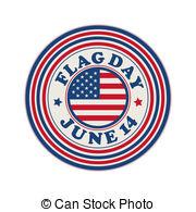 ... Flag Day stamp - Flag Day celebration stamp over white.
