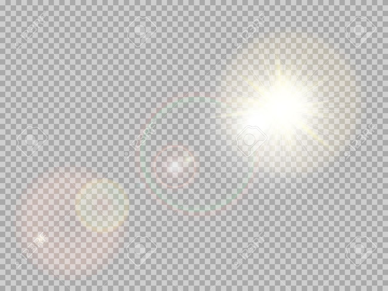 Transparent sunlight special lens flare light effect. Sun flash with rays  and spotlight. Illustration
