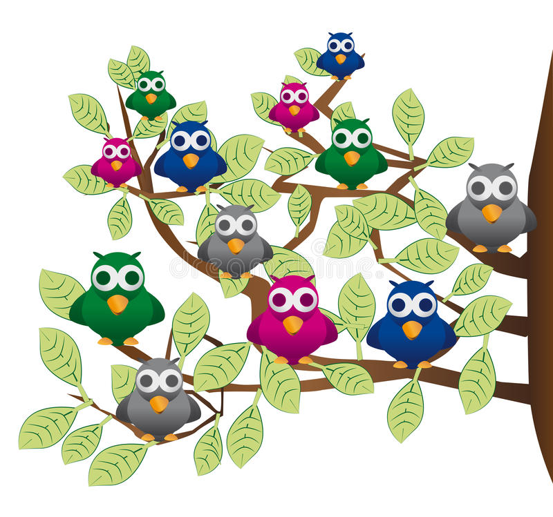 Flock of Birds Clipart Funny Flock Of Colorful Birds Stock Vector - Illustration of  humor, branch: 28657423
