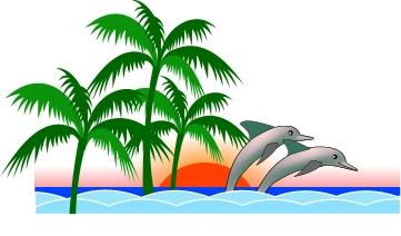 Florida Beach scene, left and right
