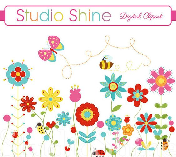 Flower Clipart - Happiness Blooms - Cute flower ladybug butterfly bee clip art - Instant Download
