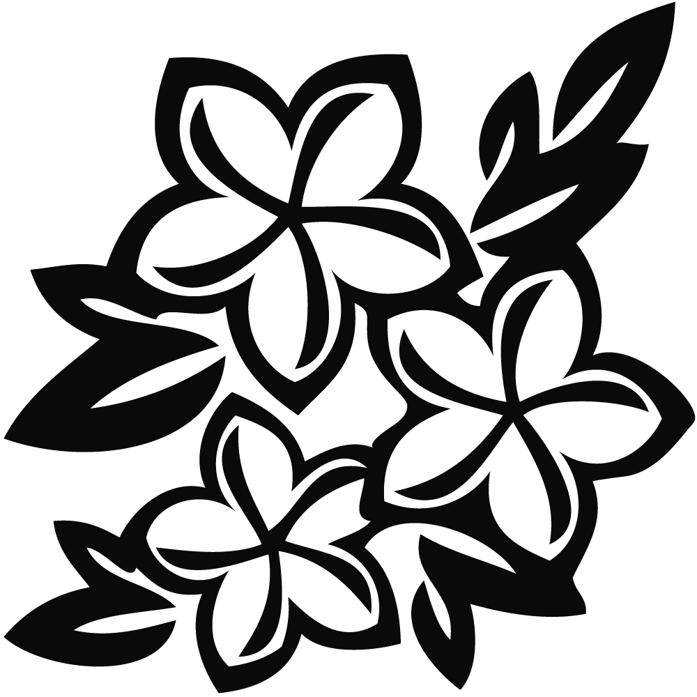 flowers clipart black and white