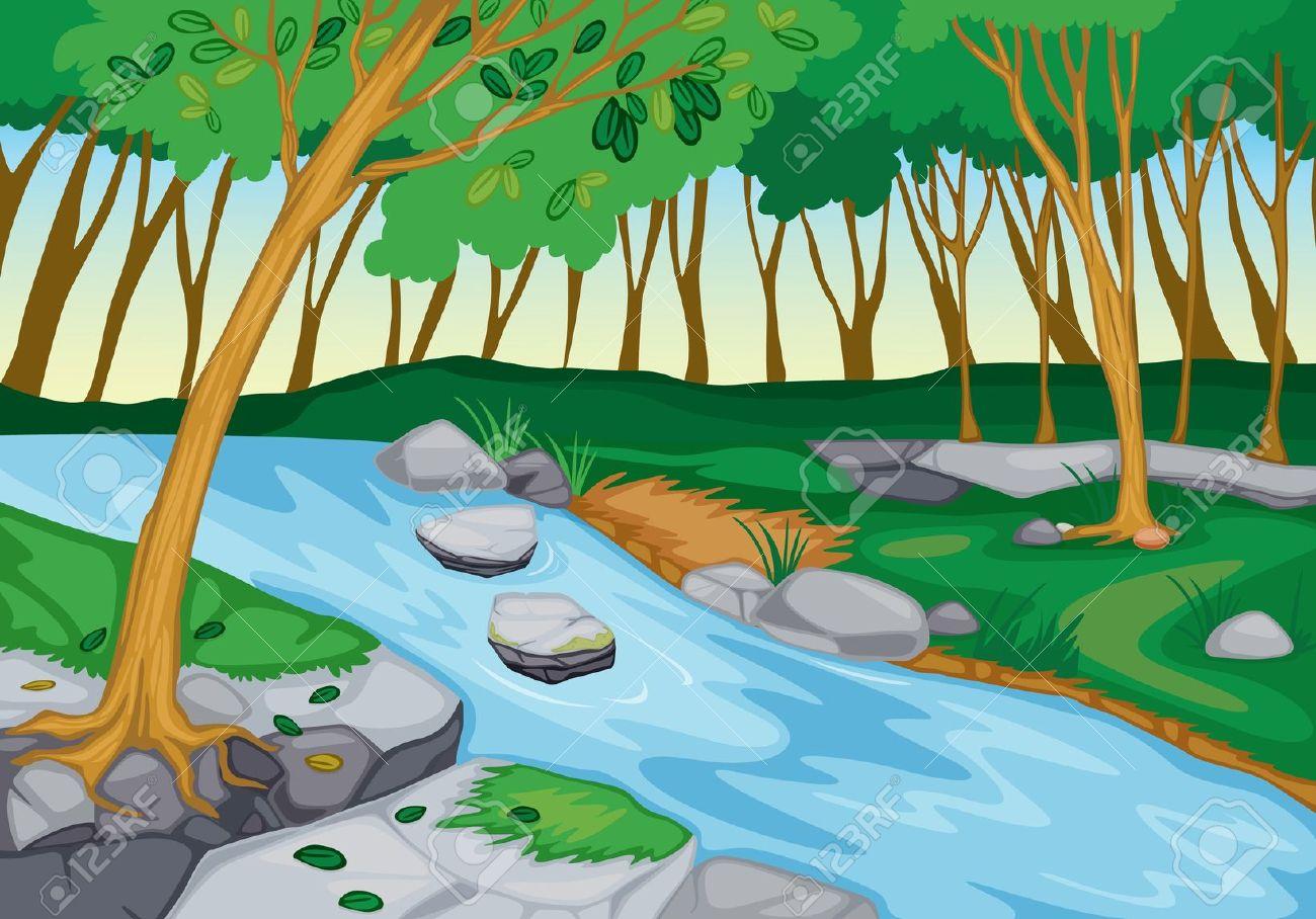 flowing river: illustration of .