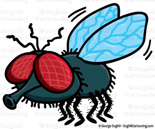 Fly cartoon character clip art stock illustration by George Coghill.