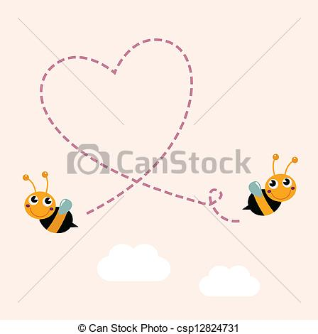 ... Flying bees making big love heart in the air - Bees making.
