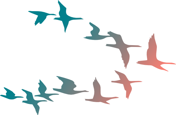 Birds Flying South Clipart #1