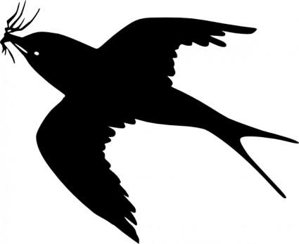 Flying Bird Silhouette Clipart .