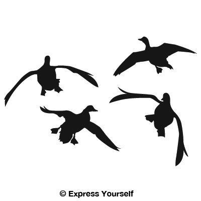 Flying Duck Silhouette | Jukinu0026#39;u0026#39; Four Ducks Waterfowl Decal