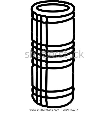 Foam roller workout equipment outlined on white background