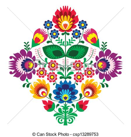 Folk embroidery with flowers patern - Decorative traditional.