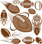 America football with flames; - Football Clipart