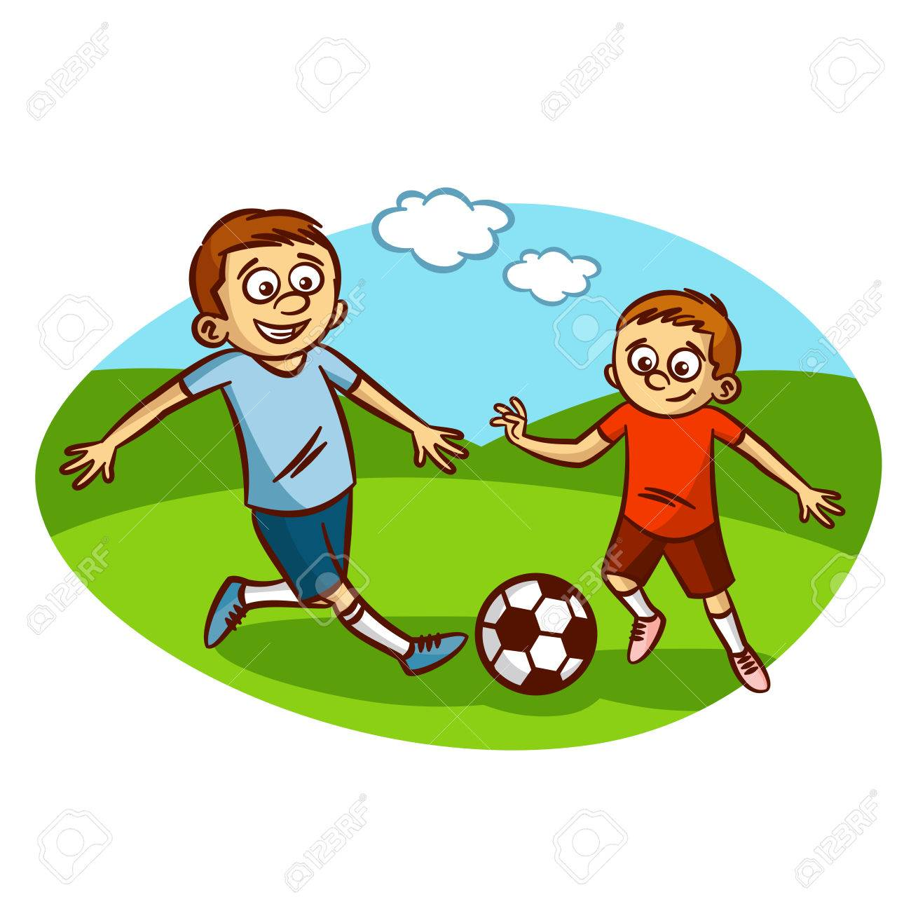 Dad and son playing football Clipart Stock Vector - 61633148