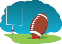 Football player reaching to catch ball clipart. Size: 73 Kb