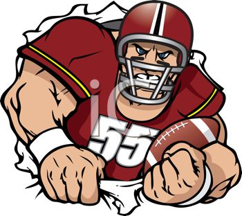 Football Player Ripping Through a Hole - Royalty Free Clip Art Picture