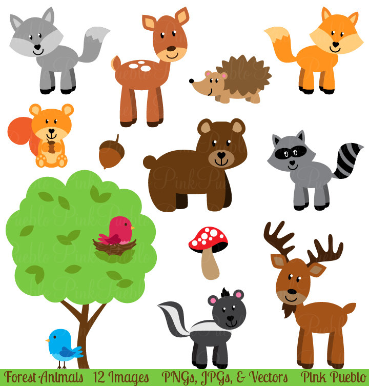 Forest Animal Clip Art, Forest Animals Clipart, Woodland Animal Clip Art, Woodland Animals