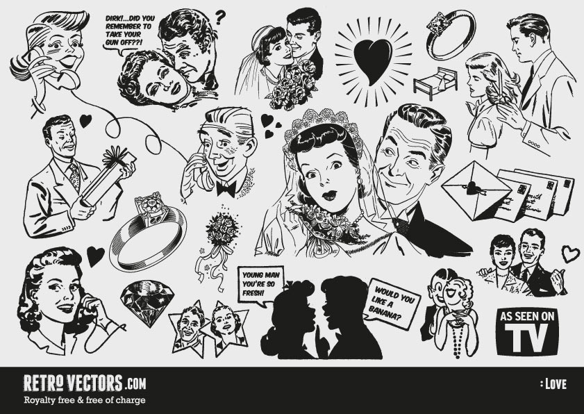 Free u0026#39;50s Love themed clipart   Vintage Vectors   Royalty Free   Free of Charge   Commercial Use   Free Retro Vectors   Pinterest   Wedding, Graphics and ...