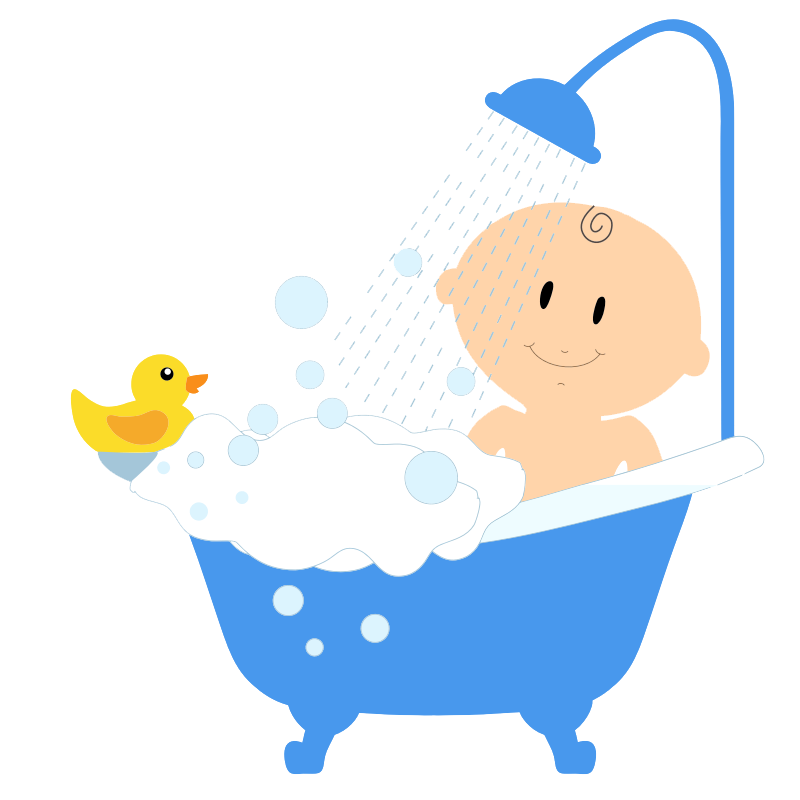 Free Baby Boy Taking Bath Clip Art
