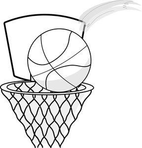 FREE BASKETBALL clip art black .