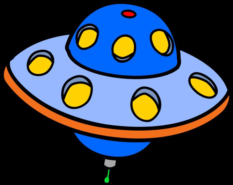 Free Blue Cartoon Flying Saucer Clip Art