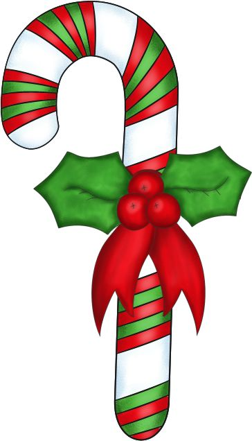 Free christmas background clipart   Christmas Candy Cane with Holly - PNG and Paint Shop Pro