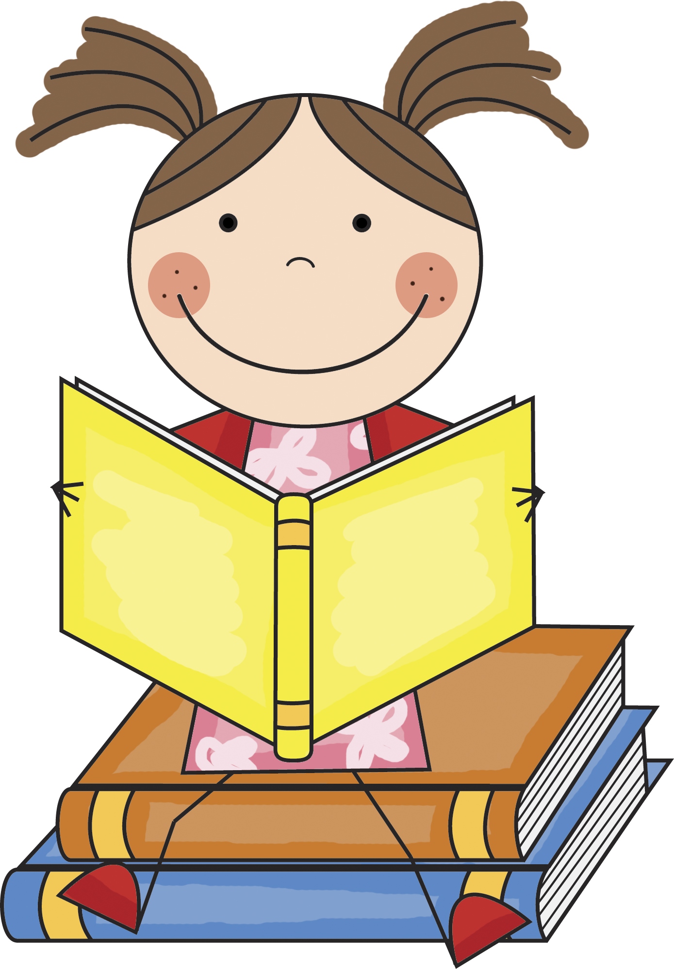 free clipart of child reading
